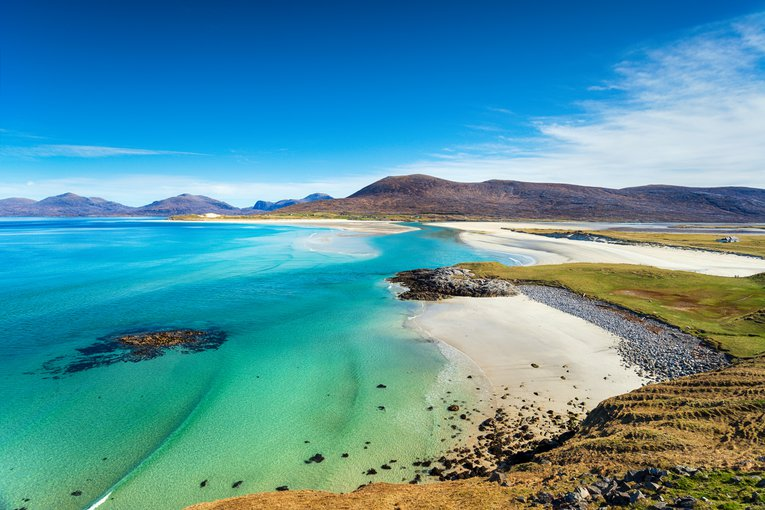 Sandy beach and clear sea at Seilebost on the isle of Harris in the Western isles of Scotland Helen Hotson