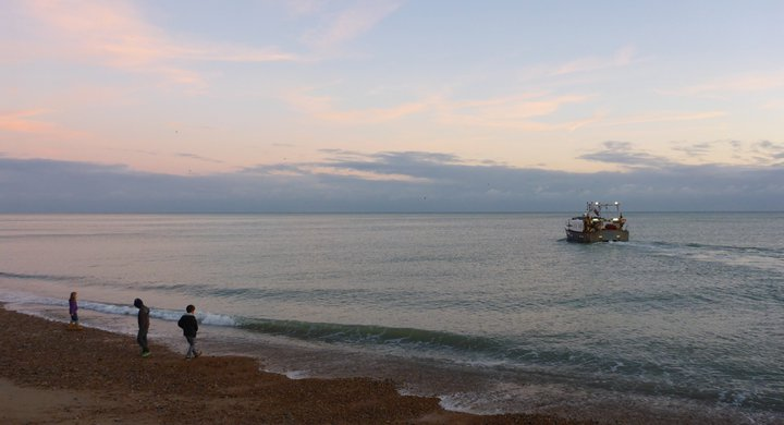 Fish boat heading out to sea Hastings Sue Ranger
