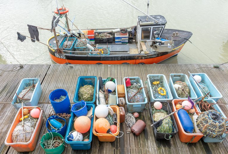Fishing boat and nets Brighton Sussex Ian Stewart