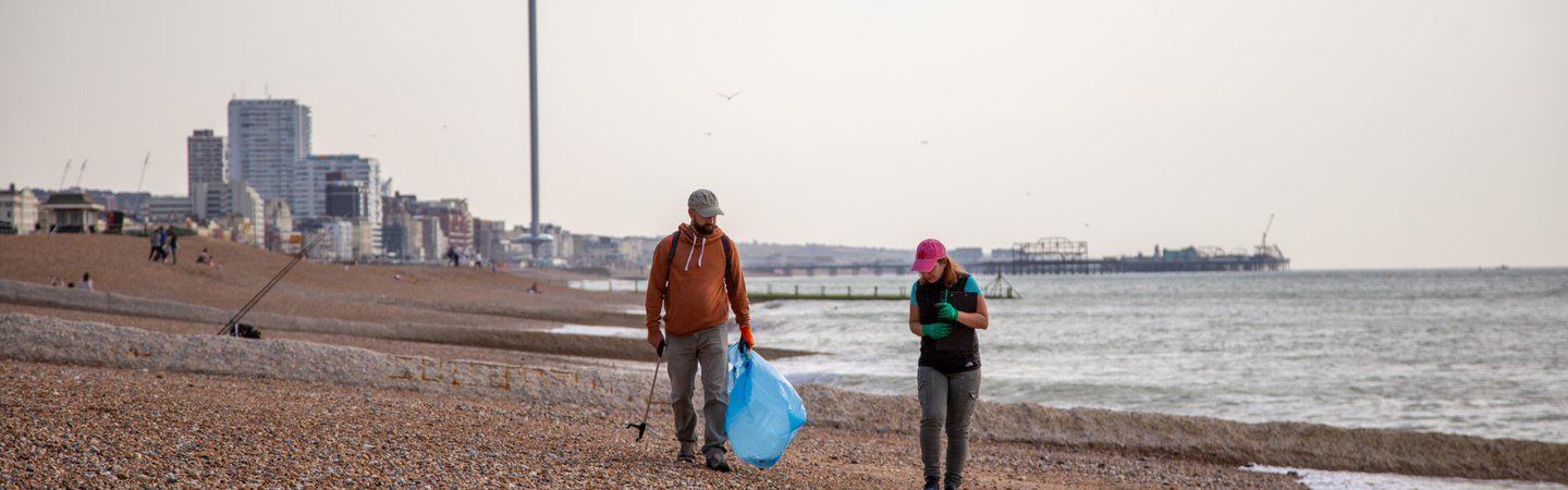 Volunteers at Great British Beach Clean on Hove Beach Brighton Billy Barraclough