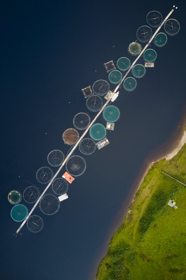 Salmon fish farm nets in Loch Awe Arygll and Bute Richard Johnson
