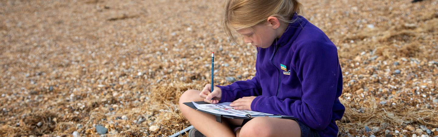 Student filling in the litter survey during the Great British Beach Clean on Hove Beach Billy Barraclough