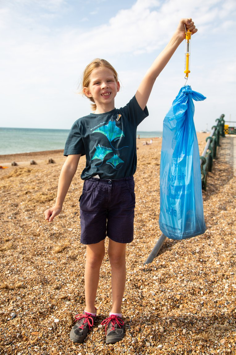 Litter being weighed during Great British Beach Clean on Hove beach 2020 Billy Barraclough