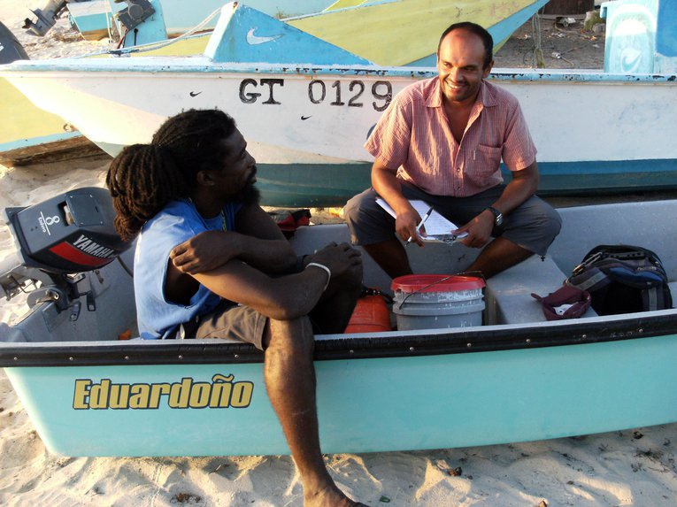 Amdeep interviewing fisherman in Grand Turk, Turks and Caicos Islands