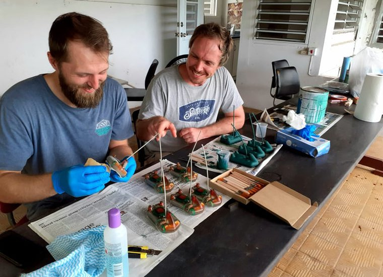 Dr Sam Weber and Jack Wiggins from the University of Exeter prepare the satellite tags